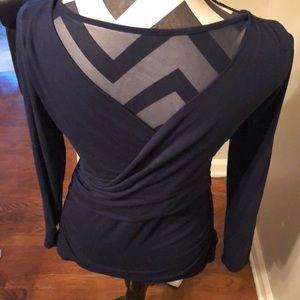 White House Black Market Tops - Navy WHBM Wrap Long Sleeve Shirt